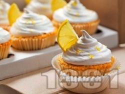 Леки и вкусни лимонови кексчета (къпкейк, мъфин) със захарна глазура - снимка на рецептата